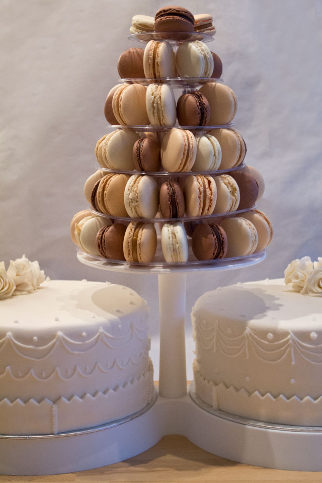 Wedding cakes and macarons