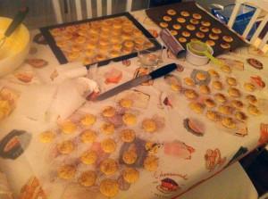My table full of macaron shells